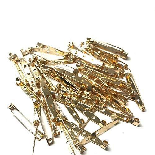 ECOKIJI(エコキジ)ブローチピン 15mm?40mm 全6サイズ 全6色 ウラピン コサージュピンパーツ ウラピンパーツ 縫い付けピン 貼り付けピン (ピンクゴールド, 40mm(3穴)x50個)(B40P50)