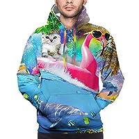 baodancerレインボーギャラクシースペースキャットオンフラミンゴ、男性用イルカシャツ
