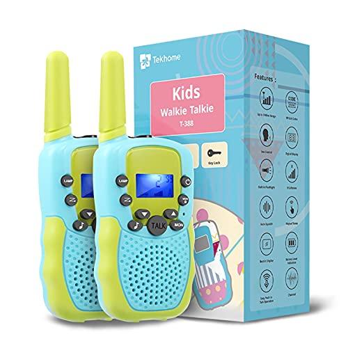 TekHome Spielzeug 3 4 5 6 7 Jahren Junge, Walkie Talkie Kinder 3km mit Taschenlampe, Junge 8 9 10 Jahre, Kinderspielzeug ab 3 Jahren, Kinder, Blau&Grün.