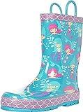Western Chief Kids Girls Waterproof Printed Rubber Rain Boots with Easy-On Handles, Mermaid Aqua, 5 Toddler