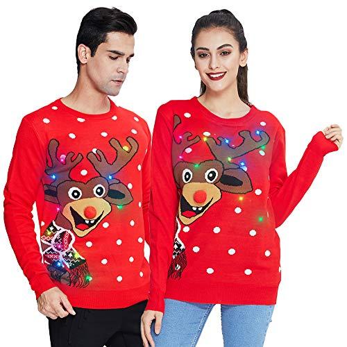 chicolife Pull de Noël Lumineux pour Femme Renne Pull de Noël Laid pour Homme avec lumières Famille Pull drôle de Flocon de Neige de Noël à Manches Longues Sweat-Shirt tricoté Rouge XXL