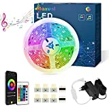 Striscia Led 6M, Maxuni Led Striscia di Illuminazione Controllata da App Bluetooth, RGB Luminose Luci Led Colorati Sincronizza con la Musica Adatto per Camera da Letto, TV e ecc