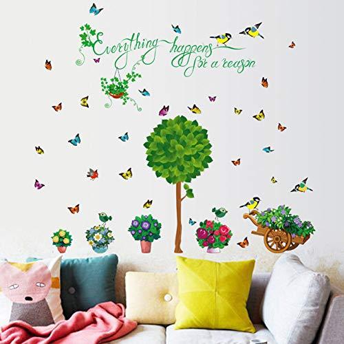ZYBKOG Wandaufkleber Home Simulation Blumen Und Grünpflanzen Dekorative Wandaufkleber Wohnzimmer Pflanze Topfvogel Schmetterling Wandtatt