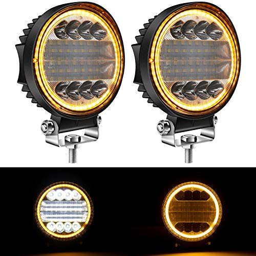 "Yorkim 4.5"" LED Pods, 2-Pack Off Road LED Light Bar Spot Flood Combo with Flash Strobe Fucntion Round Amber Angel Eye-Shape Work Light Fog Lights Driving Lights for Truck SUV ATV UTV, Pack of 2"