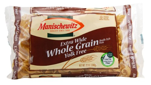 MANISCHEWITZ Whole Grain Yolk Free Extra Wide Noodles, 12-Ounce Bags (Pack of 12)
