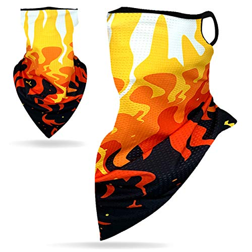 CGTL Face Bandana Ear Loops, Breathable Non-Slip Sport Face Balaclava Men Women Cooling Face Gaiters Dust Wind Face Cover Warm Half Novelty Scarf for Work Parade Costumes, Flame Black/Orange 1 Pack