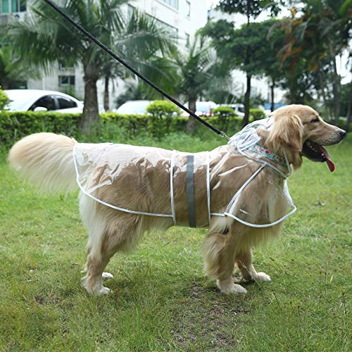 HDE Dog Raincoat Clear Waterproof Rain Jacket with Hood and Reflective Safety Strip for Small to X-Large Dogs and Puppies