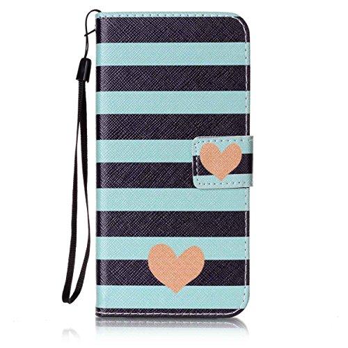 ISAKEN Compatibile con Samsung Galaxy S7 Edge Cover - Libro Wallet Flip Portafoglio Custodia in PU Pelle Colorate Pattern Anti Slip Caso con Supporto di Stand/Carte Slot/Chiusura - Stripes Blu