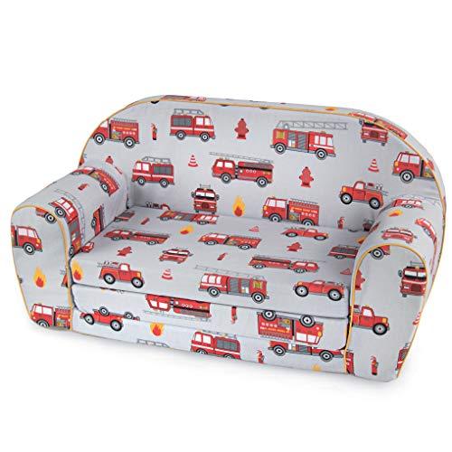 MuseHouse Sofá para niños Sofá Cama Niños pequeños Plegables 2 en un sofá y Cama de 0 a 4 años (LittleFireman)