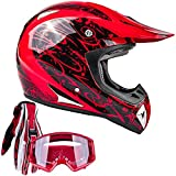 Typhoon Adult ATV MX Helmet Goggles Gloves Gear Combo Red with Red (XL)