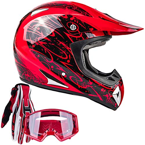 Typhoon Adult ATV MX Helmet Goggles Gloves Gear Combo Red with Red (Medium)