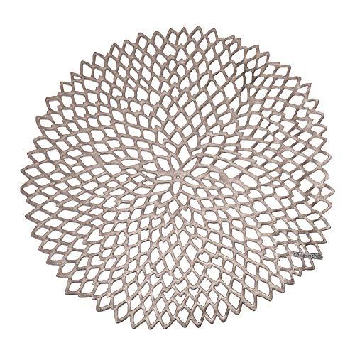 [ チルウィッチ ] Chilewich ランチョンマット プレスド ダリア フローラル 39×36cm ラウンド おしゃれ プレイスマット 100142 ガンメタル(002) Pressed Dahlia Floral/Round Gunmetal