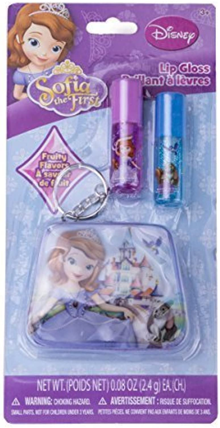 Disney Sofia the First Lip Gloss Set of 2 With Zipperot Key Chain by Disney