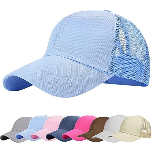 UMIPUBO Mesh Baseball Cap für Damen Basecap Outdoor Sport Mütze Lässig Baseballkappe Nettokappe Schachtelhalm Baseballmütze (Hellblau)