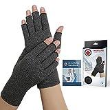 Dr. Arthritis Arthritis Compression Gloves + Doctor Written Handbook (Pair) (Grey, L)