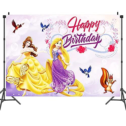 PAWT-Princess Telón de Cumpleaños,Fondo de Cumpleaños Niña , Fondo Rosa para Fotografía, Decoración de Fiesta, Pancarta, Accesorios para Fotos de Fiesta, 5 x 3 pies (1,5 x 1 m)