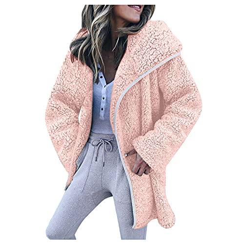 Cappotti da donna, stile vintage, caldo, invernale, tinta unita, con cappuccio, in vendita, rosa, XL
