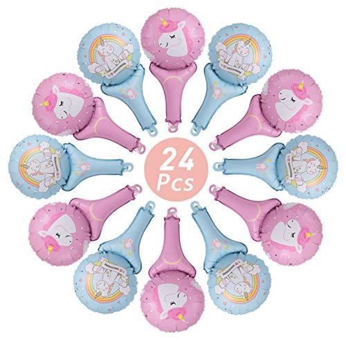 Kesote 24 Globos de Aluminio Globos Unicornio para Fiestas de Cumpleaños Ceremonia de Boda (Azul y Rosa)