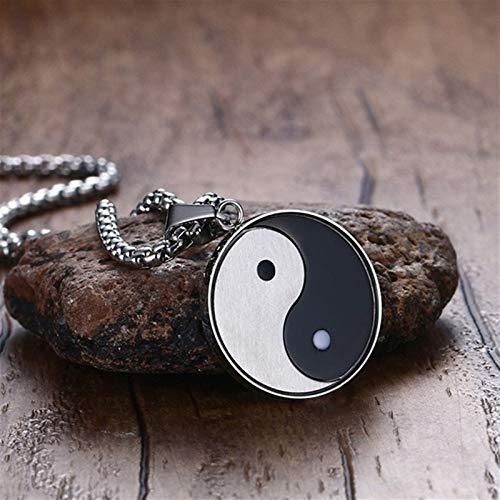 ZAOPP Collar místico Chino Símbolo de Yin Yang Colgante for Hombres de Acero Inoxidable chisme Meditates Yoga Dos Tonos joyería Masculina Accesorios (Length : 60cm)