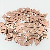 Espejo triangular pequeño de 12 mm con forma de mosaico de oro rosa, 120 unidades