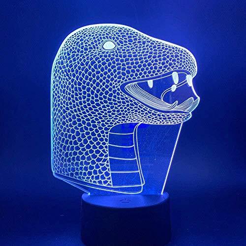 XZHYMJ 3D Lampe Snake Animal Nachtlampe für Kinder Geburtstagsgeschenk Schlafzimmer Snake Animal Lampe für Kinder Nachtlichter Novel Led Night Light