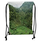 Fevthmii Drawstring Backpacks Bags,Balinese Decor,Picture of Terraced Rice Paddies in Hillside Tropical Valley Asian Farming Agriculture Theme,Green Soft Satin,5 Liter Capacity,Adjustable S