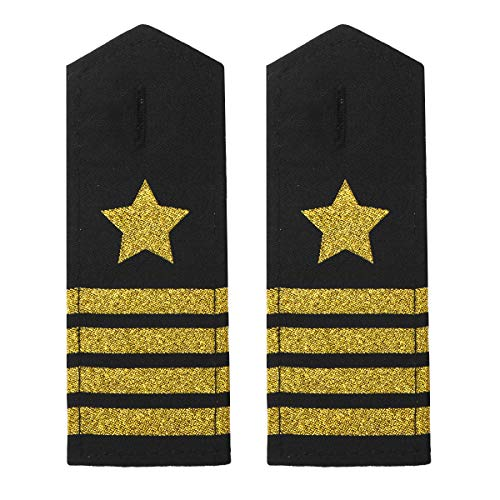 Freebily 1 Paar Uniform Schulterklappen Epaulette Piloten Marine Kapitän Kostüm Accessories mit Gold/Silber Stern Streifen Schwarz&Gold D One Size
