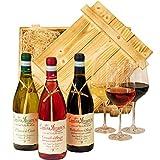 Geschenkset Abruzzo   Weinset mit Holzkiste und 3 ausgezeichneten Weinen (Rot, Weiß, Rosé) aus Italien   Wein Geschenk Korb gefüllt für Weinliebhaber   Italienische Geschenkbox für Frauen & Männer