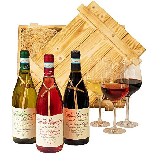 Geschenkset Abruzzo | Weinset mit Holzkiste und 3 ausgezeichneten Weinen (Rot, Weiß, Rosé) aus Italien | Wein Geschenk Korb gefüllt für Weinliebhaber | Italienische Geschenkbox für Frauen & Männer