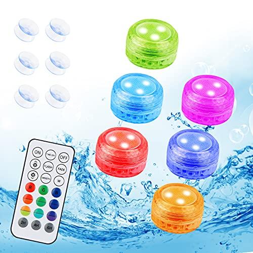 Zorara Unterwasser Licht, 6 Stück Mini LED Poolbeleuchtung mit RF Fernbedienung, Unterwasserlicht RGB 16 Farbwechsel IP68 wasserdichte LED Teelicht für Schwimmbad, Aquarium, Vase, Party