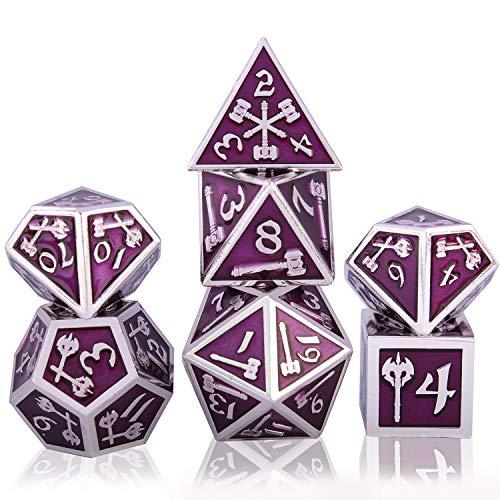 7 Dadi di Metallo Poliedrico Dadi Set DND Gioco di Ruolo Dadi Set?con per Rpg Dungeons e Dragons D&D Insegnamento della Matematica?Giochi da Tavolo e Giochi di Ruolo (Bright Silver & Purple)