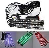 Dicrey Car LED Strip Lights Car Interior Lights 12 LED RGB Auto LED Strip Lights Multi-Color Music Car Lights USB Car Neon Lamp Music Smart Phone Bluetooth Control for Indoor DIY Car Party 4pcs