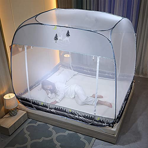 Mosquitera de la cama. Tapa de la cama de yurta cuadrada con cama, mosquitera plegable, instalación gratuita de red de sombreado completo de tres puertas, adecuado para el dormitorio familiar