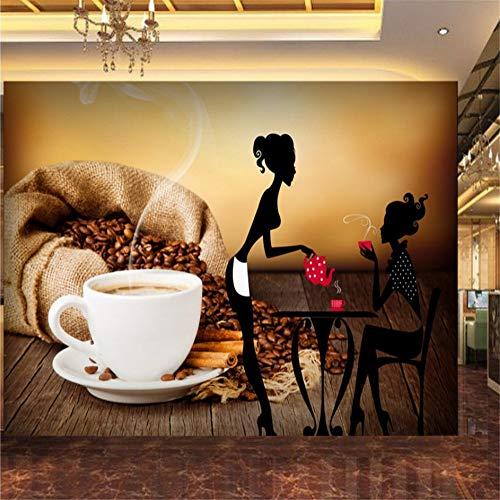 Rureng Benutzerdefinierte Fototapete Coffee Shop Schönheit Silhouette Tasse Tooling Hintergrund Wand Papier Lounge Hd Benutzerdefinierte Wandbild-350X250Cm