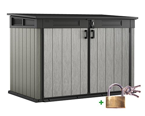 Ondis24 Keter Grande Store XXL Gartenbox Gerätebox abschließbar Mülltonnenbox für 3 Mülltonnen oder Fahrräder 2020 Liter inklusive Vorhängeschloss