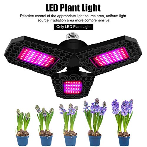 ZJING LED Grow Light for Indoor Plant, Grow Lamp Full Spectrum Plant Light Foldable LED Grow Light Bulb LEDs with Red Blue Spectrum for Hydroponic Veg, Flower Succulents Garden Growing,80W