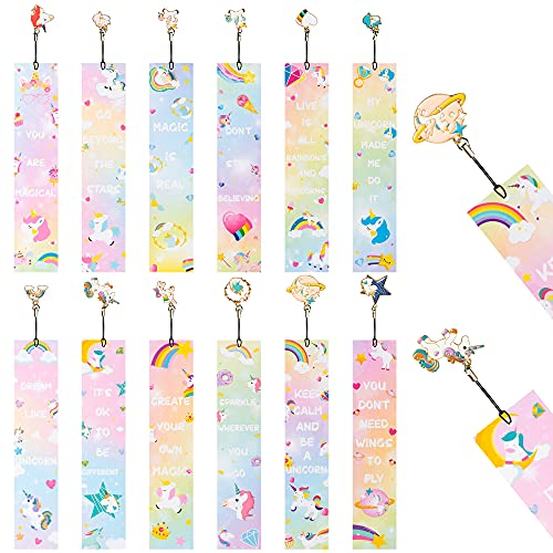 BeYumi 12Pcs Unicorn Rainbow Bookmarks for Kids Girls Inspirational Quotes Bookmark Ruler with Metal Charms Unicorn Reading Party Favors School Supplies Gifts Classroom Reading Rewards for Students