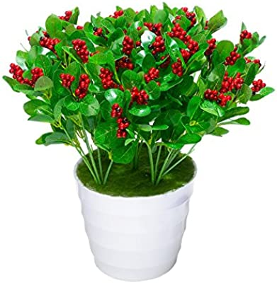 XHOPOS HOME Artificial Flowers Green leaves flowers Plastic Red Real Touch Silk Flowers Home Wedding Party