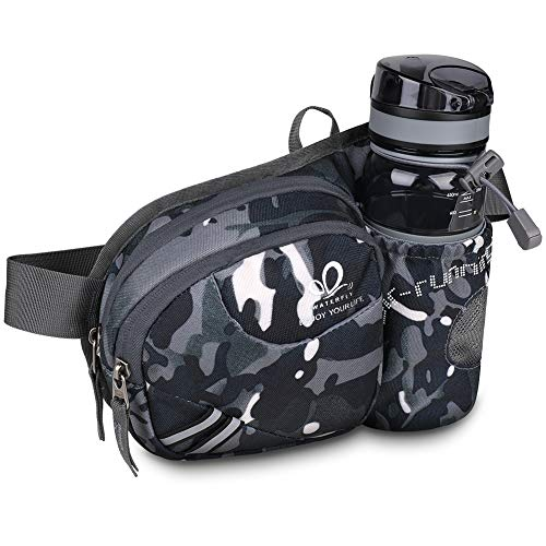 Waterfly Waist Pack Fanny Pack Bum Bag Hip Pack Running Bag Waist Bag Running Belt Sack Water Resistant with Bottle (Not Included) Holder for Hiking Camping Dog Walking Nylon Fabric (Gray Color)