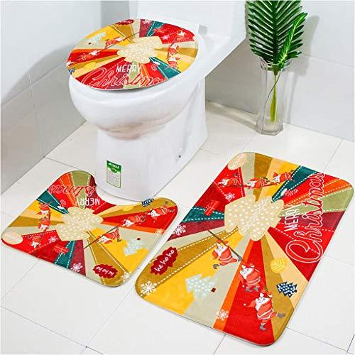 YJ-foryou Drie-delige toilet Mat vloermatten Tapijt Set Kerstmis Print U vorm Bathroom Floor Vloerbedekking Toilet wc mat Non-Slip (Color : B)