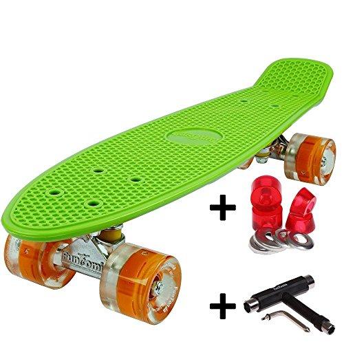 FunTomia Miniboard 57cm Skateboard mit oder ohne LED Leuchtrollen inkl. Alu Truck und Mach1 Abec-11 Kugellager