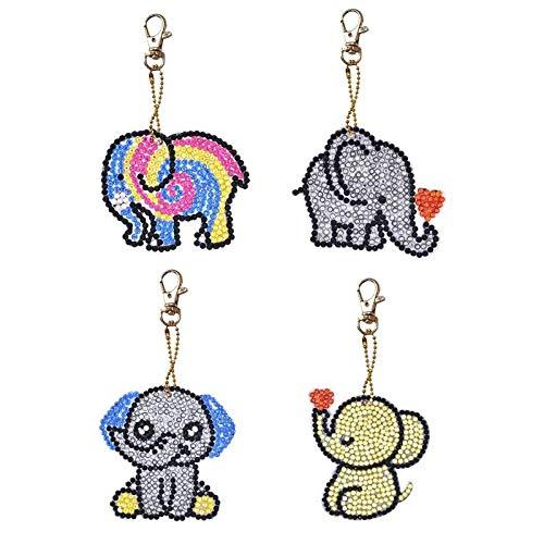 4 Teile/satz DIY Diamant Malerei Cartoon Elefanten Harz Tasche Keychain Schmuck Anhänger Keychain