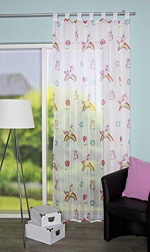 Schlaufenschal Einhorn Kinderzimmer Vorhang Kindergardine Voile Store 140/245 halbtransparent weiß-bunt