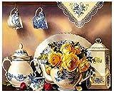 tzhwlh 5D Diamond Painting Runde Bohrkits für Erwachsene geklebte Stickerei Kreuzstich Kunsthandwerk für Home Wall Decor Blue-Eyed Wolf-40x50cm(16x20in)