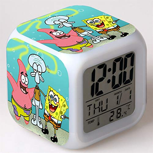 Feng Astar Bedroom Alarm Clock for Kids, Bedside Alarm Clock with 7 Color Night Light, Mini Music Wake Up Alarm Clock with 8 Sounds, Gift for Boys Girls,H