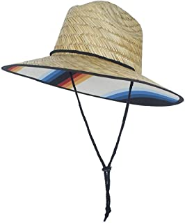 PengCheng Pang Summer Fashion Straw Hat Sun Hats Girls Large Brim Summer Boater Beach Ribbon Round Flat Top Beach Floppy Lifeguard Hat (Color : 1, Size : 56-58CM)