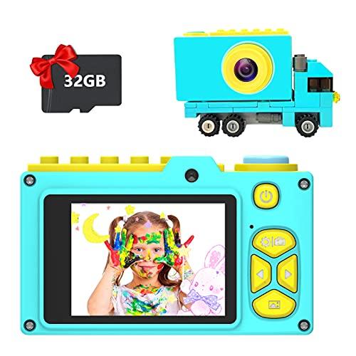 Ushining Kinderkamera, Digitalkamera für Kinder mit 2,0 Zoll Bildschirm, Fotokamera mit 32 GB Micro SD-Karte Dual Lens, USB Wiederaufladbare Selfie Kamera für 3-12 Jahre Alter - Blau