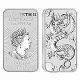 2019 P 1 oz .9999 Silver Coin Bar Australian Dragon Bar $1 Brilliant Uncirculated