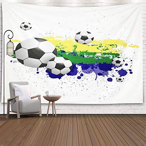 Tapiz para Colgar en la Pared, tapices Deacutecor, Sala de Estar, Dormitorio para el hogar, Interior, Impreso para Fondo de fútbol con Colores Brasil, Azul y Negro