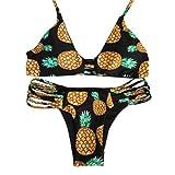 RETUROM Trajes de baño para Mujer, Encantador Alto Cuello Halter Backless piña Impreso Bikini Conjunto Traje de baño (M, Negro)